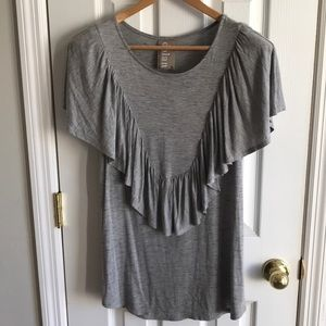 NWT Anthropologie Marled Ruffle Boho Top